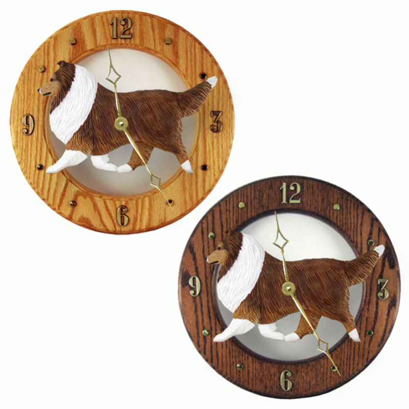 Sheltie Shetland Sheepdog Wood Clock Wall Plaque Sable