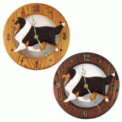 Shetland Sheepdog Wood Wall Clock Plaque Tri 1