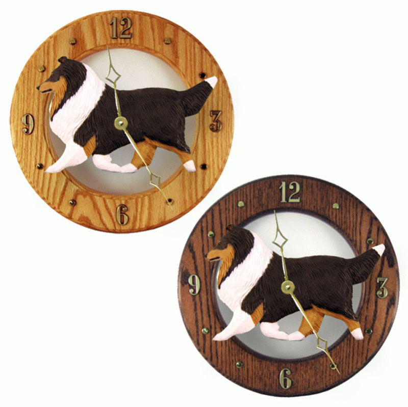 Shetland Sheepdog Wood Wall Clock Plaque Tri