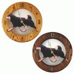 Shiba Inu Wood Wall Clock Plaque Blk/Tan