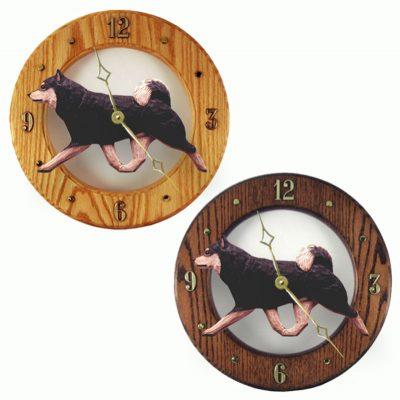 Shiba Inu Wood Wall Clock Plaque Blk/Tan 1