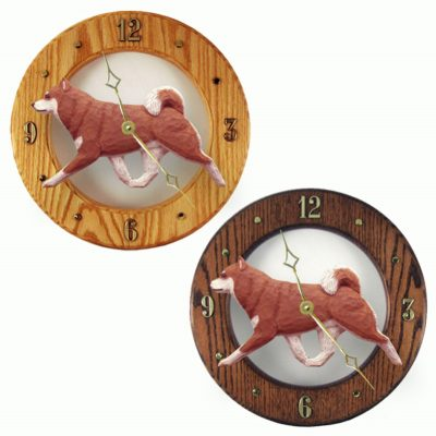 Shiba Inu Wood Wall Clock Plaque Orange 1