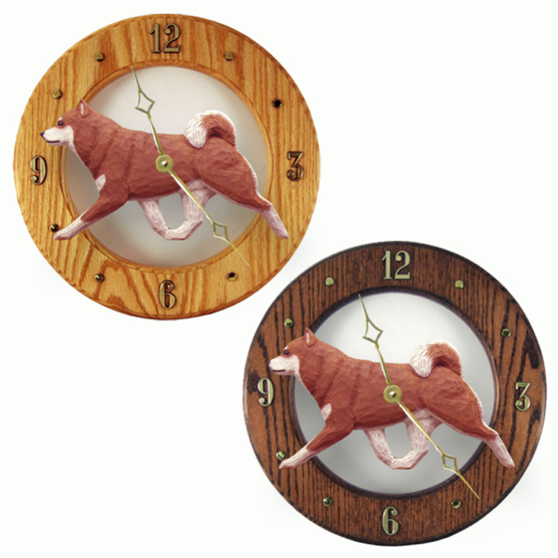 Shiba Inu Wood Wall Clock Plaque Orange