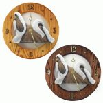 Shih Tzu Wood Wall Clock Plaque Brn/Wht