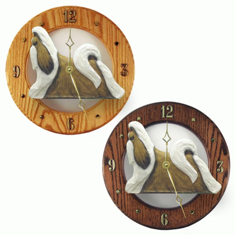 Shih Tzu Wood Wall Clock Plaque Gold/Wht