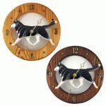 Siberian Husky Wood Clock Wall Plaque Black/White