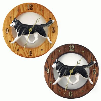 Siberian Husky Wood Clock Wall Plaque Black/White