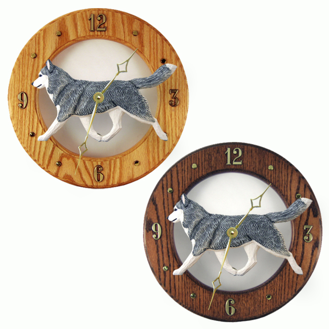 Siberian Husky Gray White Dog Wall Clock