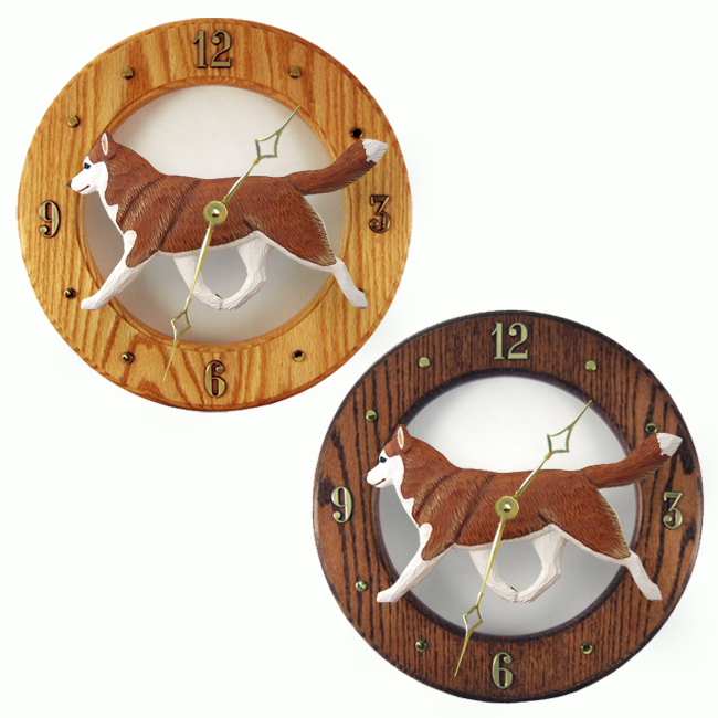 Siberian Husky Red White Dog Wall Clock