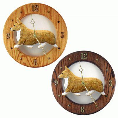 Welsh Corgi Pembroke Wood Clock Wall Plaque Blonde
