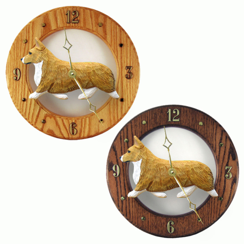 Welsh Corgi Pembroke Wood Clock Wall Plaque Blonde