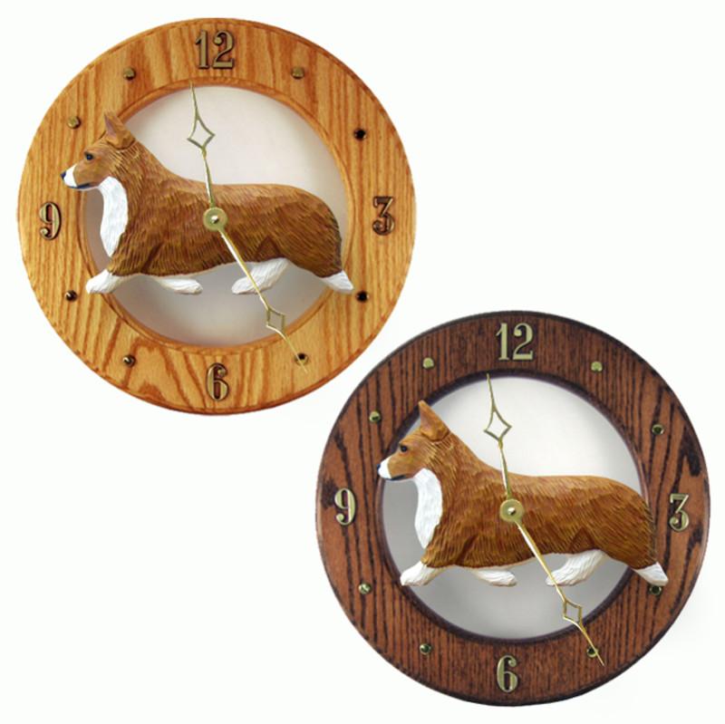Welsh Corgi Pembroke Wood Wall Clock Plaque Red