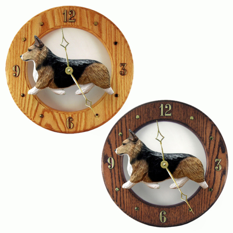 Welsh Corgi Pembroke Wood Wall Clock Plaque Sable
