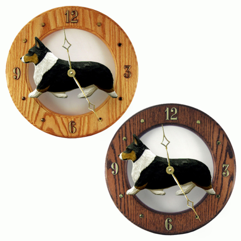 Welsh Corgi Pembroke Wood Wall Clock Plaque Tri