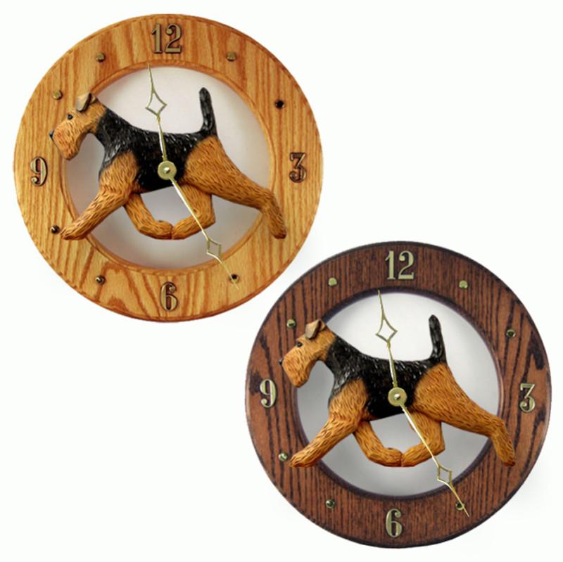 Welsh Terrier Wood Wall Clock Plaque