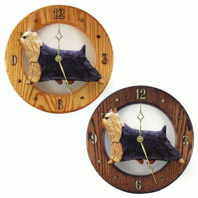 Yorkshire Terrier Yorkie Wood Clock Wall Plaque