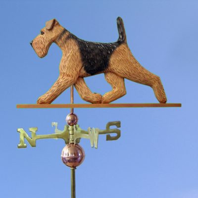 Airedale Hand Carved Hand Painted Basswood Dog Weathervane 1