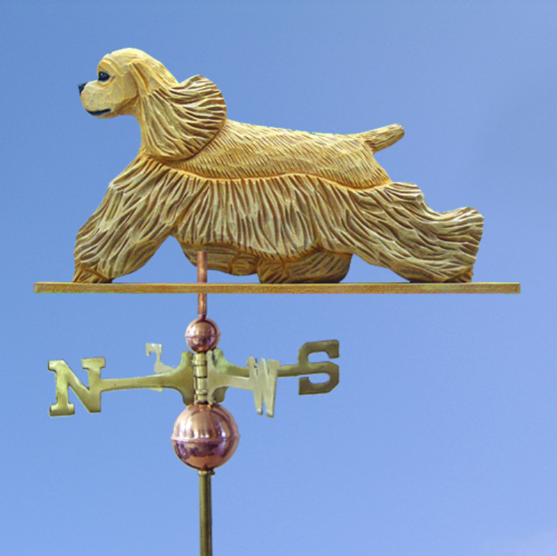 American Cocker Spaniel Hand Carved Hand Painted Basswood Dog Weathervane Buff
