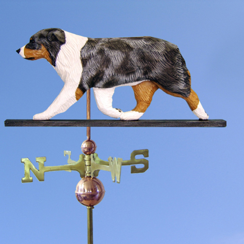 Australian Shepherd Hand Carved Hand Painted Basswood Dog Weathervane Blue Merle