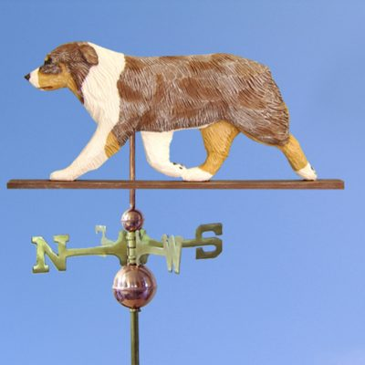 Australian Shepherd Hand Carved Hand Painted Basswood Dog Weathervane Red Merle