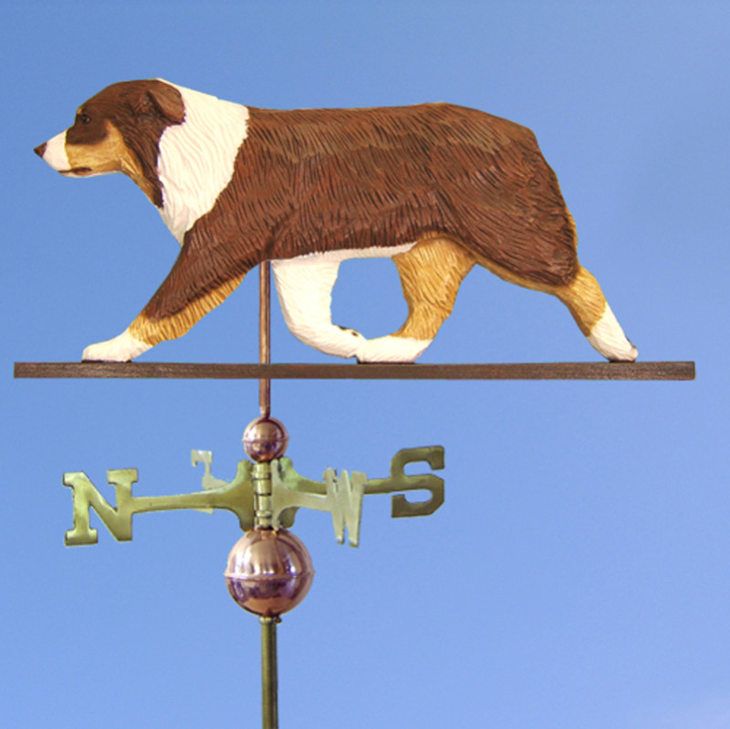 Australian Shepherd Hand Carved Hand Painted Basswood Dog Weathervane Red Tri