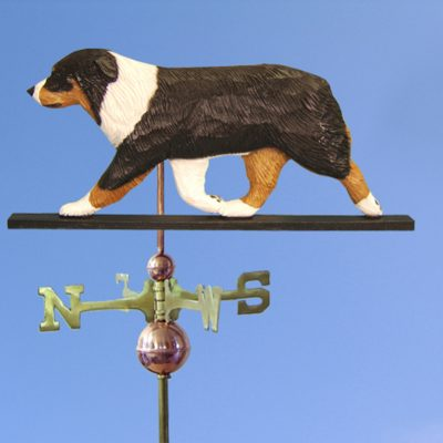 Australian Shepherd Hand Carved Hand Painted Basswood Dog Weathervane Tri 1