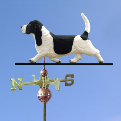 Basset Hound Hand Carved Hand Painted Basswood Dog Weathervane Black/White 1