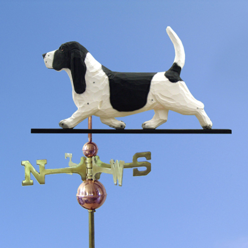 Basset Hound Hand Carved Hand Painted Basswood Dog Weathervane Black/White