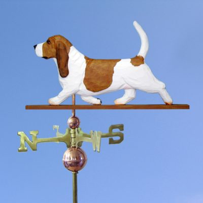Basset Hound Hand Carved Hand Painted Basswood Dog Weathervane Red/White