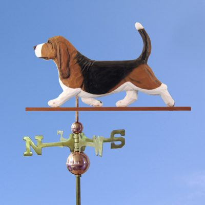 Basset Hound Weathervane Hand Carved Hand Painted Basswood Tri