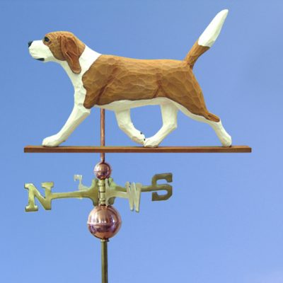 Beagle Hand Carved Hand Painted Basswood Dog Weathervane Red/White 1