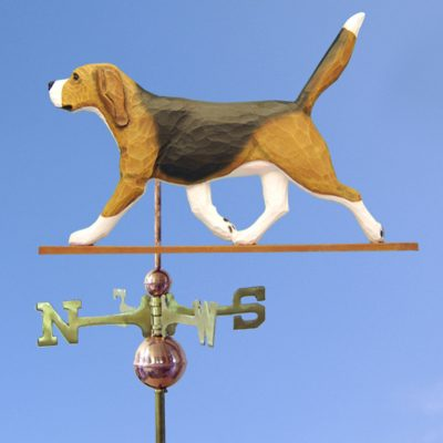 Beagle Hand Carved Hand Painted Basswood Dog Weathervane Tri