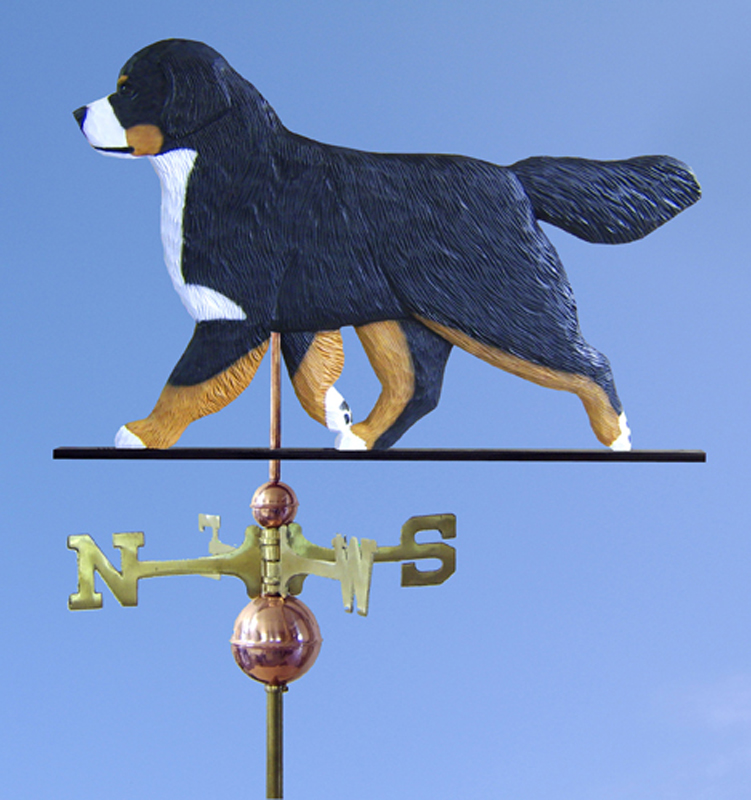 Bernese Mountain Dog Hand Carved Hand Painted Basswood Dog Weathervane