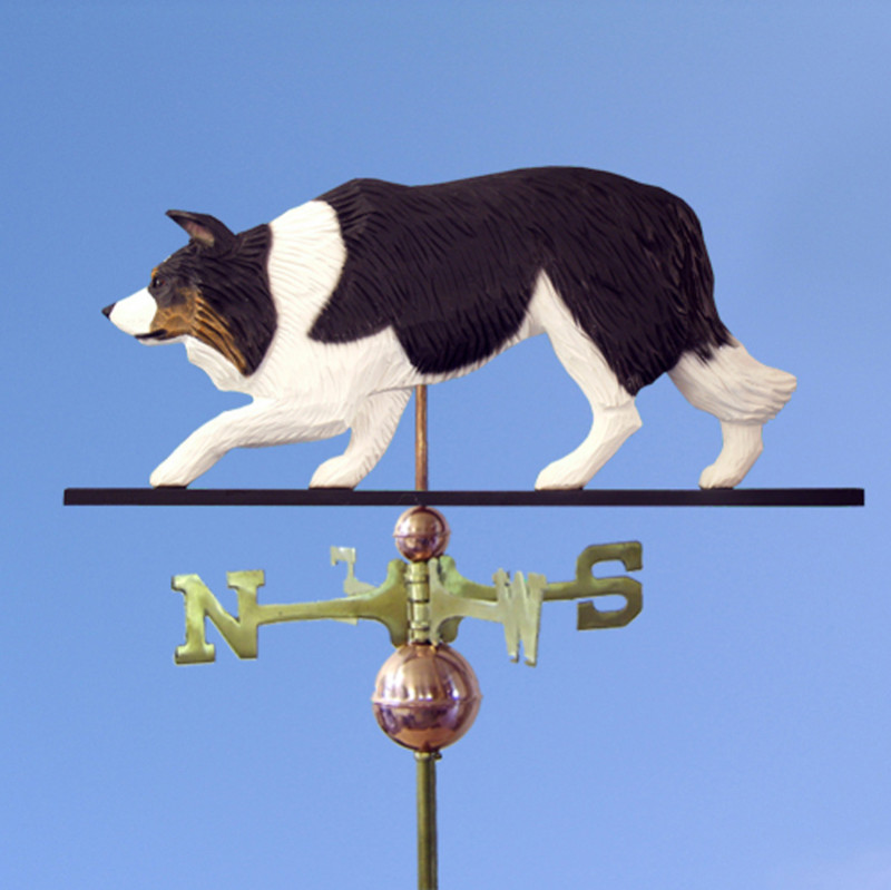 Border Collie Hand Carved Hand Painted Basswood Dog Weathervane Black Tri