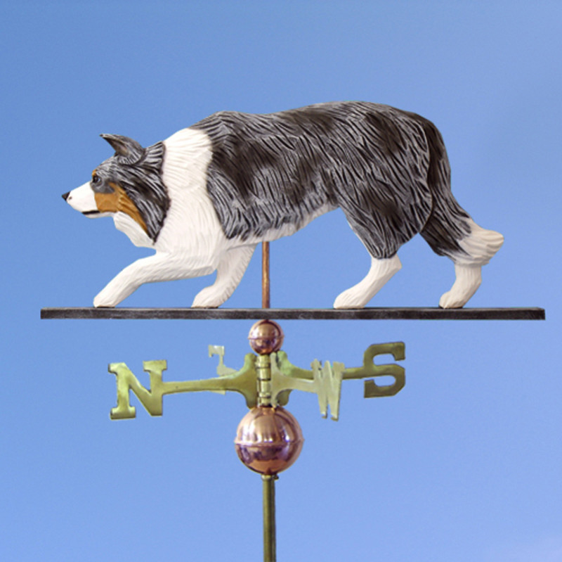 Border Collie Hand Carved Hand Painted Basswood Dog Weathervane Blue Merle