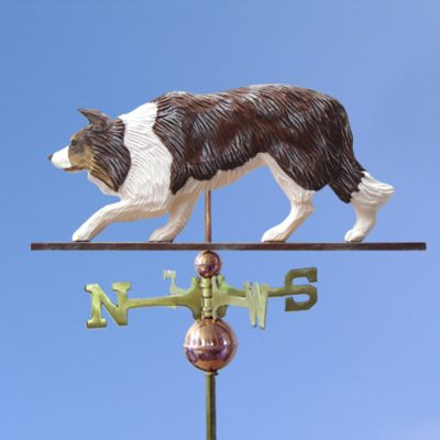 Border Collie Hand Carved Hand Painted Basswood Dog Weathervane Red Merle 1