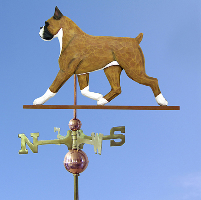 Boxer Hand Carved Hand Painted Basswood Dog Weathervane Fawn