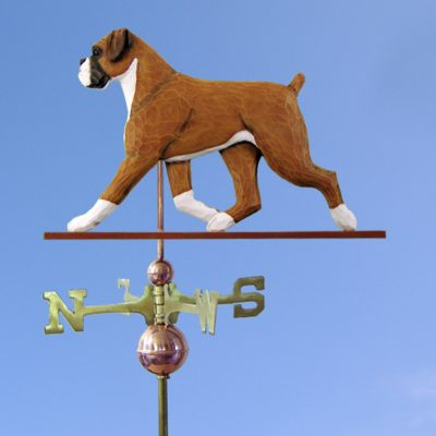 Boxer Uncropped Hand Carved Hand Painted Basswood Dog Weathervane Fawn 1