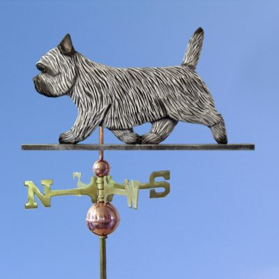Cairn Terrier Hand Carved Hand Painted Basswood Dog Weathervane Light Grey 1