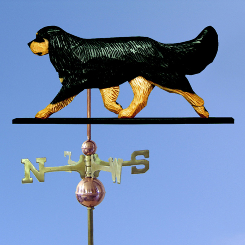 Cavalier King Charles Spaniel Hand Carved Hand Painted Basswood Dog Weathervane Black & Tan