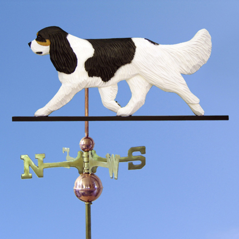 Cavalier King Charles Spaniel Hand Carved Hand Painted Basswood Dog Weathervane Black Tri