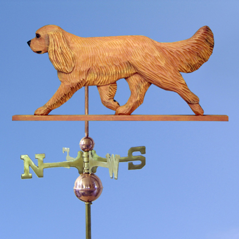 Cavalier King Charles Spaniel Hand Carved Hand Painted Basswood Dog Weathervane Ruby