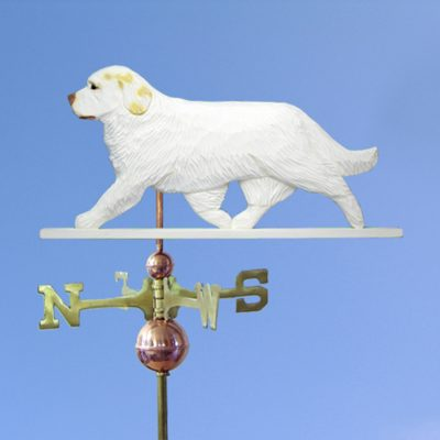 Clumber Spaniel Hand Carved Hand Painted Basswood Dog Weathervane Lemon 1