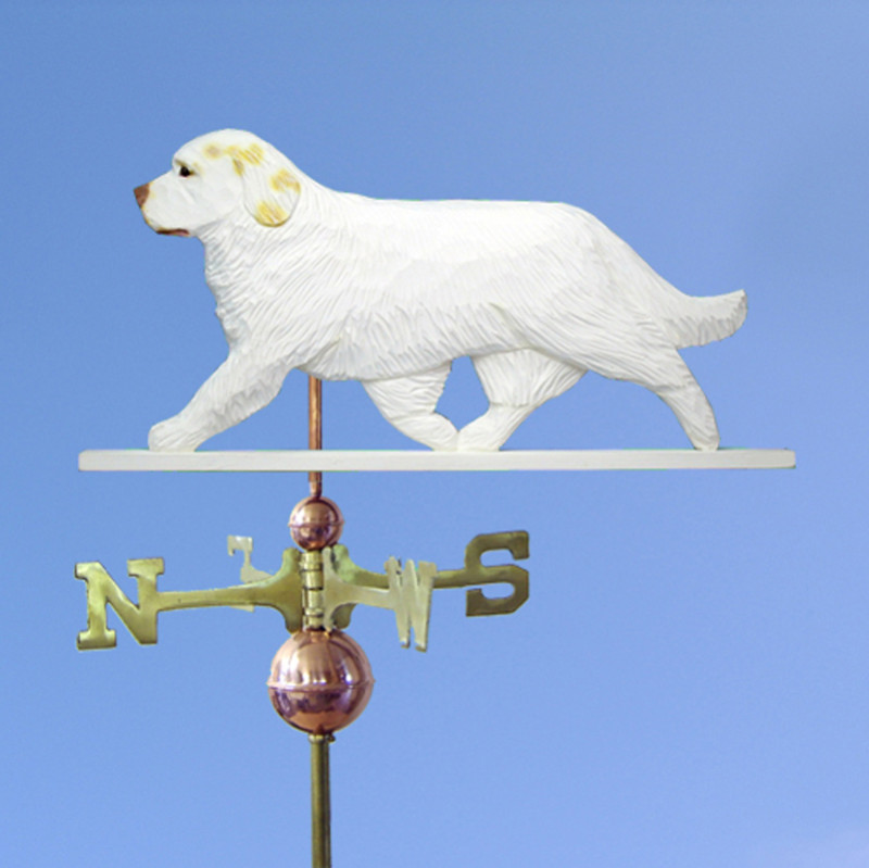 Clumber Spaniel Hand Carved Hand Painted Basswood Dog Weathervane Lemon