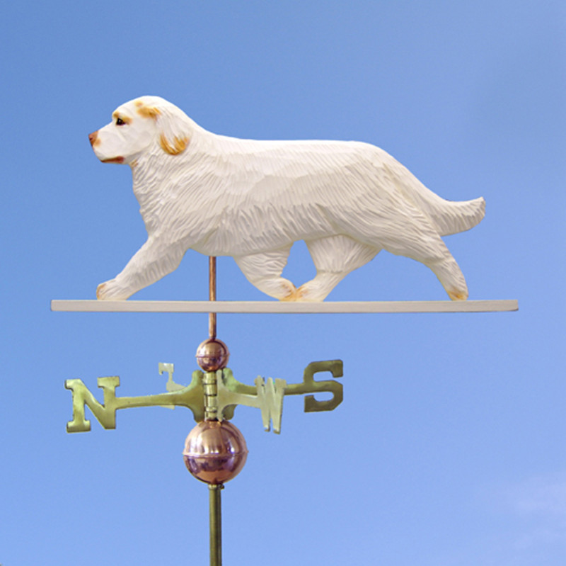 Clumber Spaniel Hand Carved Hand Painted Basswood Dog Weathervane Orange
