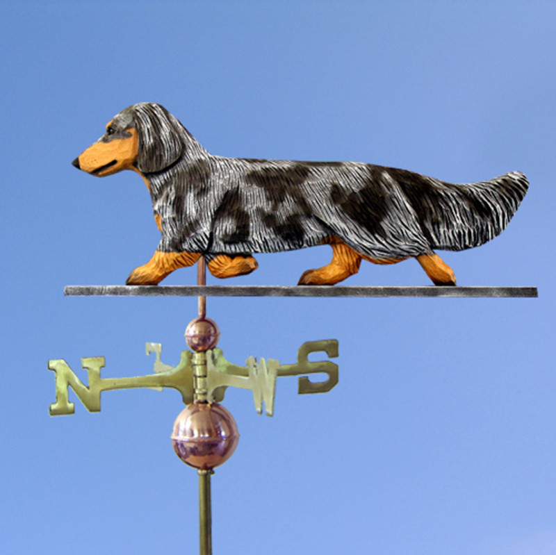 Dachshund Long Hair Hand Carved Hand Painted Basswood Dog Weathervane Blue Dapple