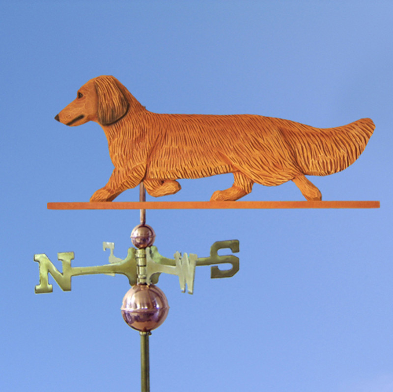 Dachshund Long Hair Hand Carved Hand Painted Basswood Dog Weathervane Red