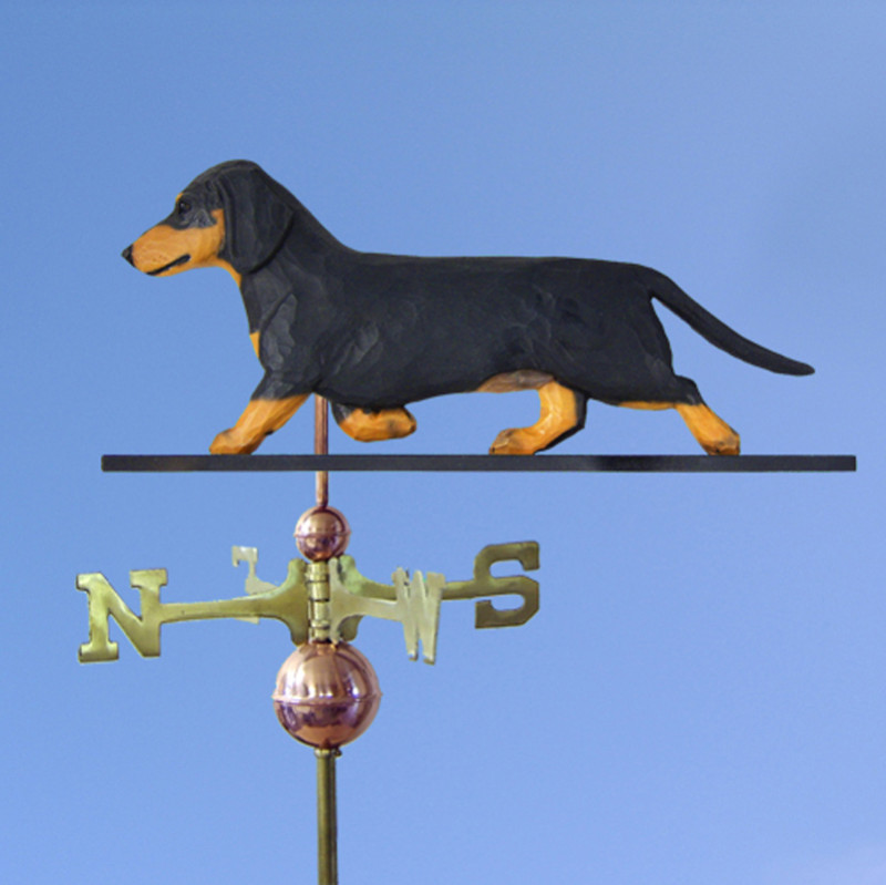 Dachshund Smooth Hand Carved Hand Painted Basswood Dog Weathervane Black & Tan
