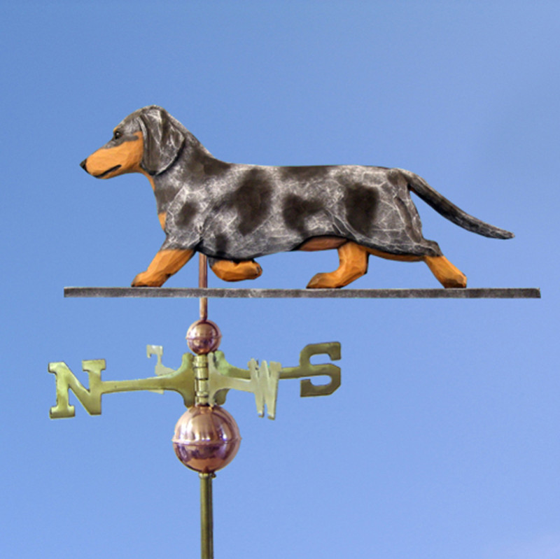 Dachshund Smooth Hand Carved Hand Painted Basswood Dog Weathervane Blue Dapple