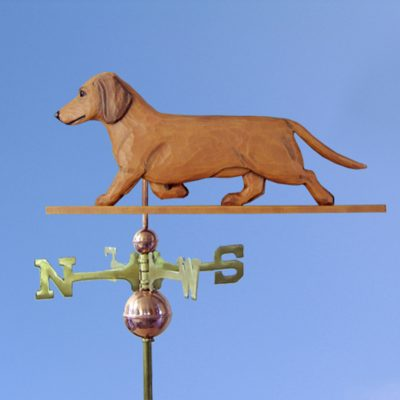 Dachshund Smooth Hand Carved Hand Painted Basswood Dog Weathervane Red